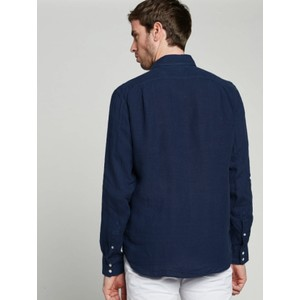Hartford Paul Pat L/S 1 Pkt Shirt Deep Blue