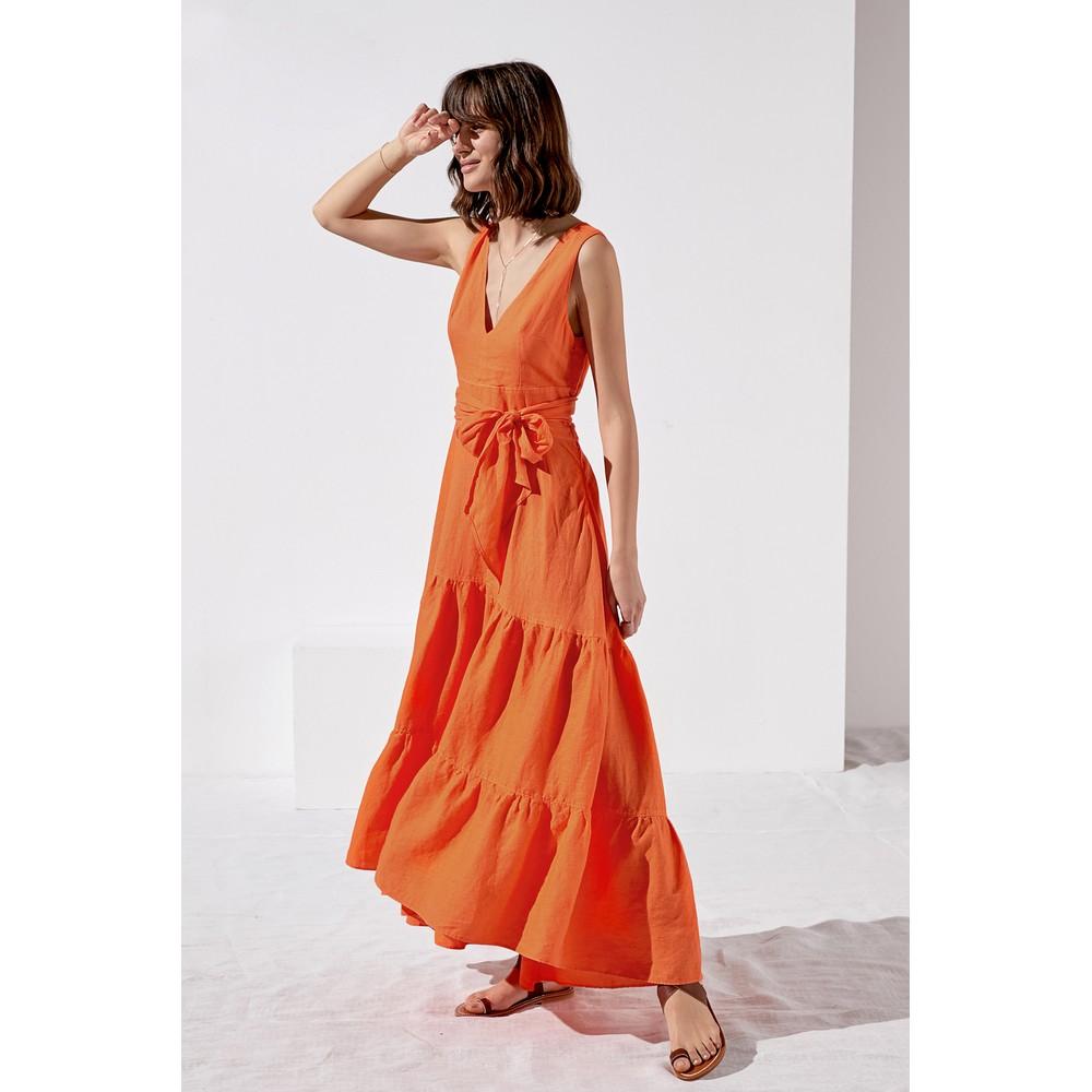 Rosso35 Long S/L Tier Dress Orange