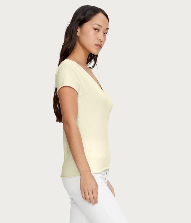 Michael Stars Jade V Neck T Shirt Lemonade