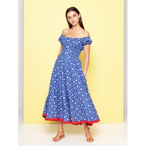 S/S Gthrd Waist Floral Drs Blue/White/Red