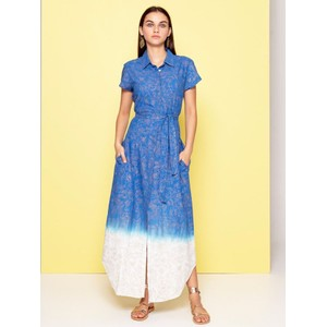 SS Gold Print Ombre Shirt Drs Blue/Pastel Green