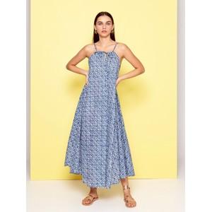 Gypsy S/L D/String Nk Dress Blue/White