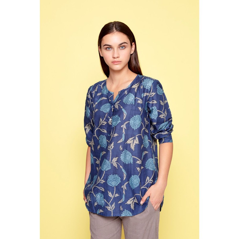 Dream Cardi Floral/Leaf Blouse Navy/Multi