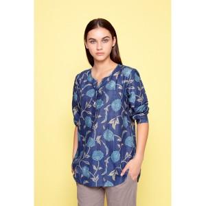 Cardi Floral/Leaf Blouse Navy/Multi