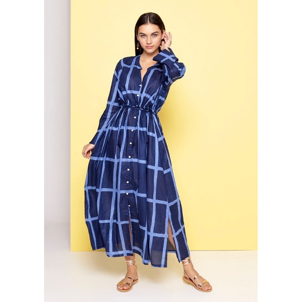 Dream Lounger L/S Grid Print Dress Navy and Blue
