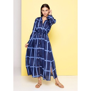 Lounger L/S Grid Print Dress Navy and Blue