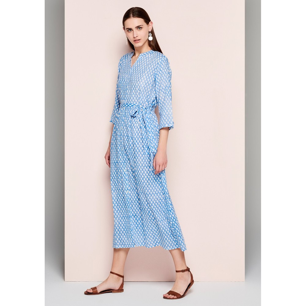 Dream Opema Shirt Dress w/ Belt Sky Blue/White