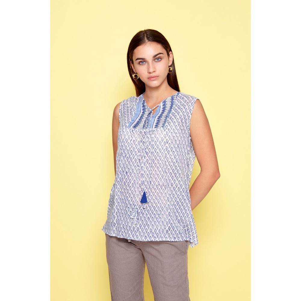 Dream Joline S/L Leaf Top Blue/White
