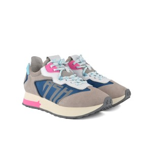 Tiger Suede Trainer Dove/White/Blue/Fuchsia