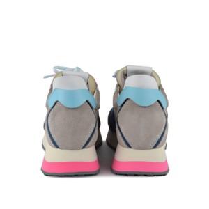 Ash Tiger Suede Trainer Dove/White/Blue/Fuchsia