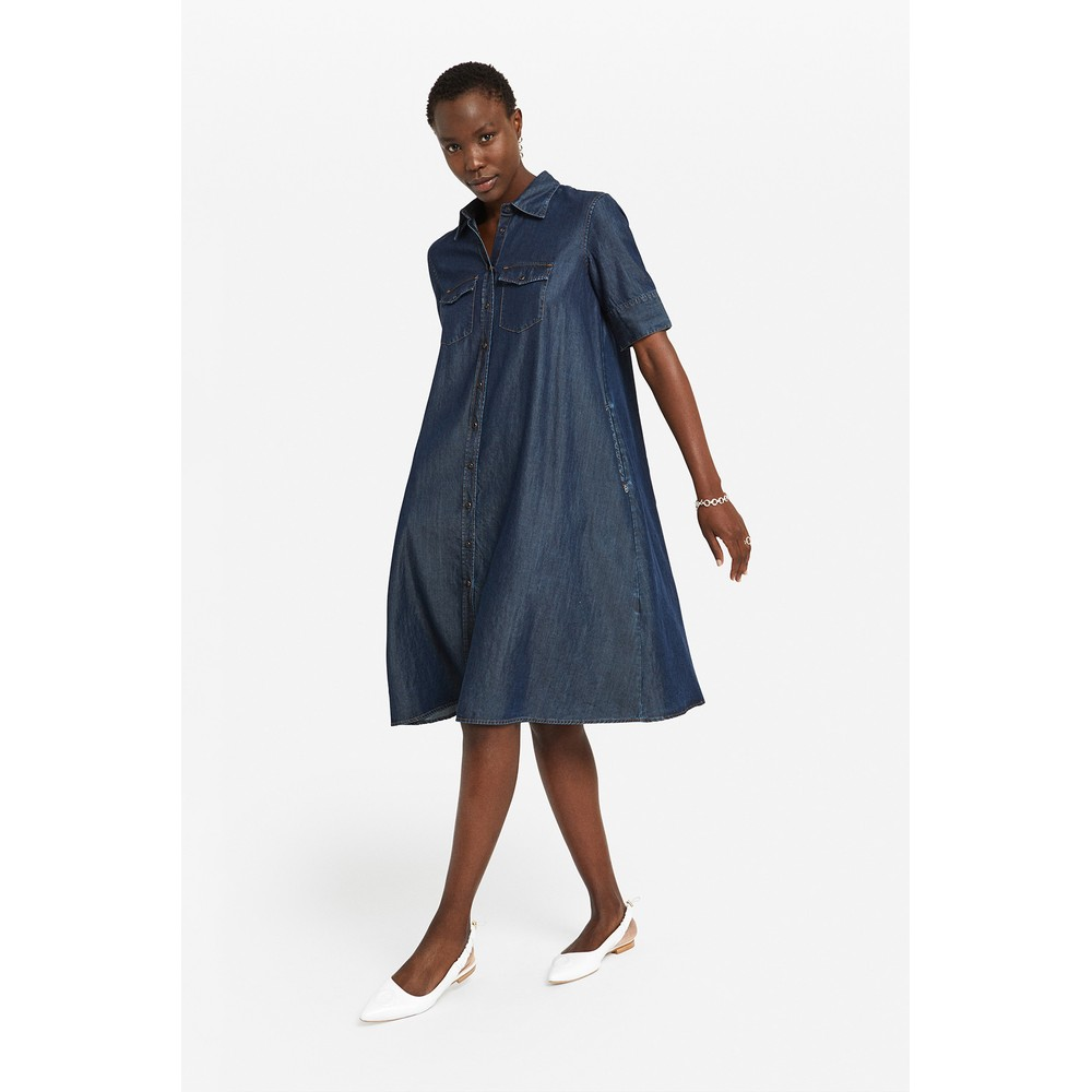Ottod'Ame SS A Line Denim Dress Denim