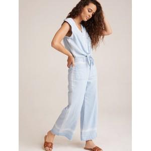Pkt Front Wide Leg Crop Trousers Pale Blue