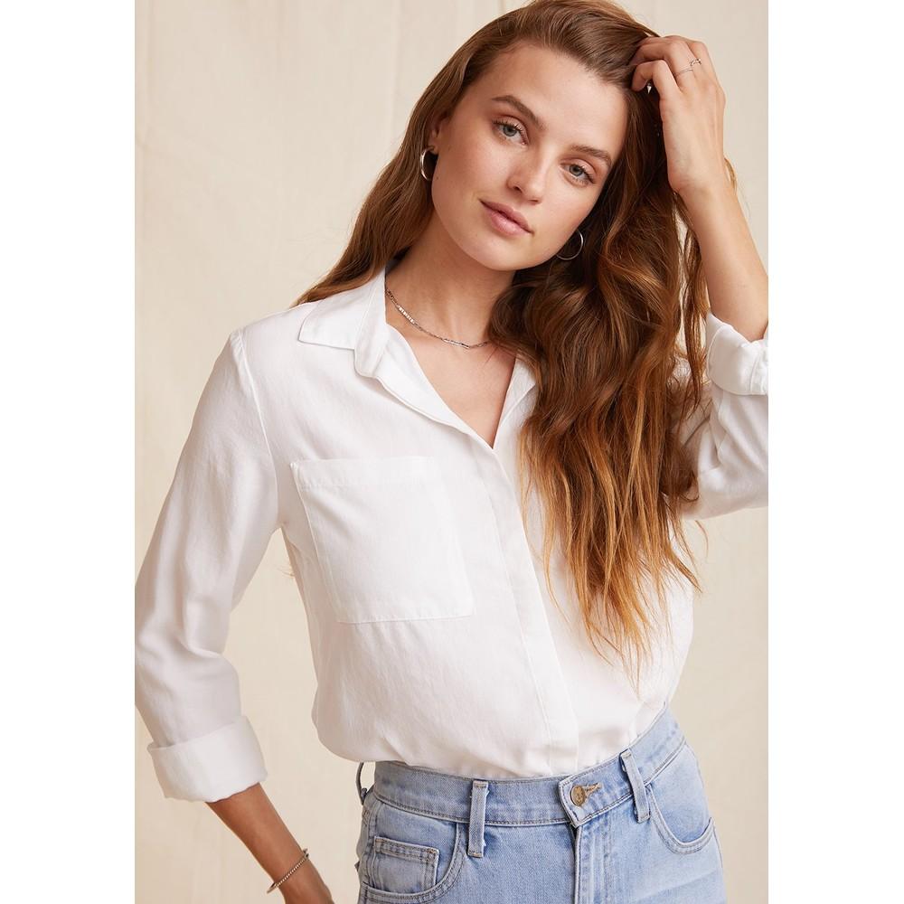 Bella Dahl Frayed Edge P/K Shirt White