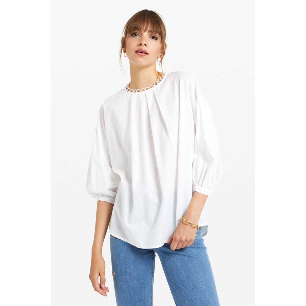 Ottod'Ame Balloon Slv Detail Nk Blouse Off White