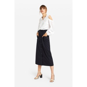 Two Pk Button Through Skirt Navy