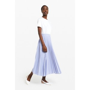 Pleated Long Skirt Pale Blue/White