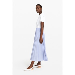 Ottod'Ame Pleated Long Skirt Pale Blue/White