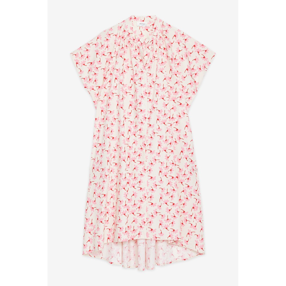 Ottod'Ame Floral Print Cotton Dress Pink/Cream
