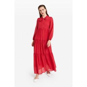 Cotton Long Ruffle Dress Red