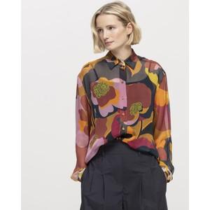 Luisa Cerano Sheer Floral Silk Shirt Multi