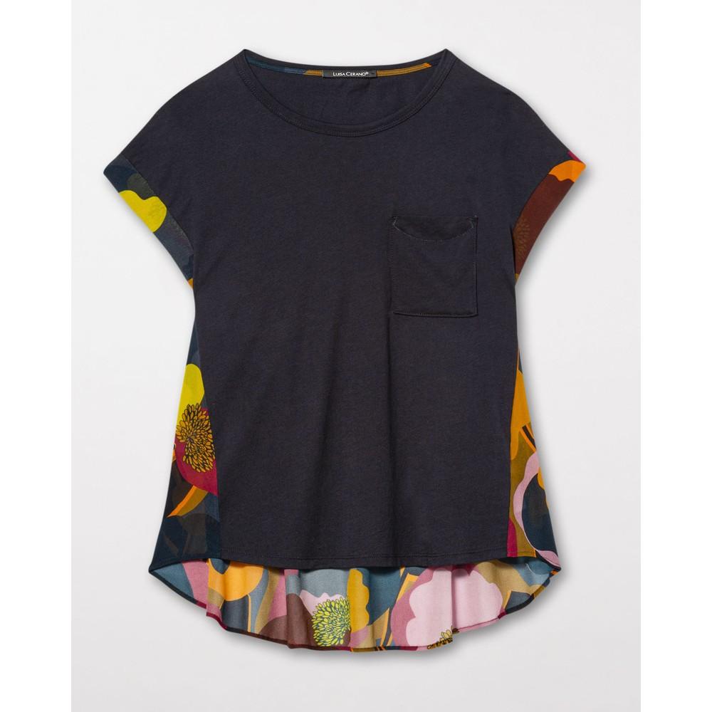 Luisa Cerano S/S Tee w/Sheer Floral Back Charcoal/Multi