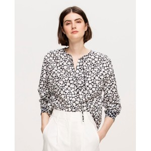 L/S Flower Print Blouse White/Dark Blue