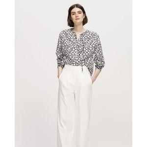 Luisa Cerano L/S Flower Print Blouse White/Dark Blue