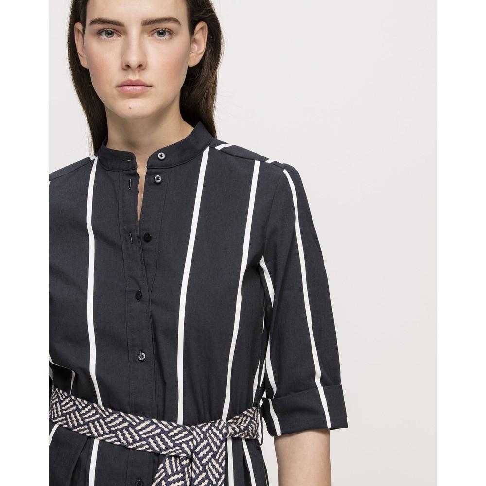 Luisa Cerano Striped Shirt Drs w/Belt Dark Blue/White