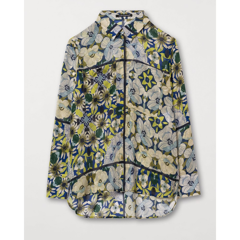 Luisa Cerano Exclusive Floral Print Blouse Blue/Acid Green/Multi