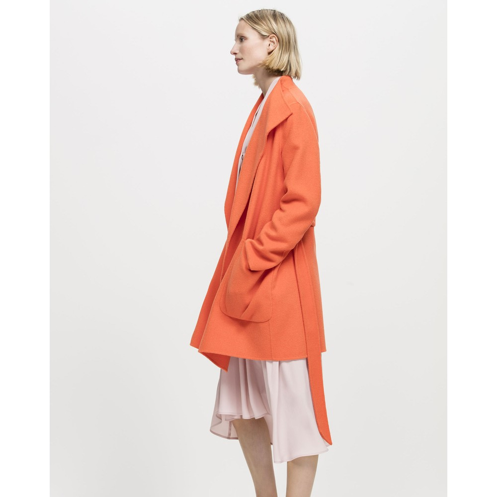 Luisa Cerano Doubleface Tie Waist Coat Orange