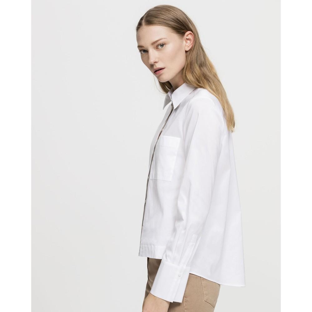 Luisa Cerano Metalic Detail 1 Pkt Blouse White/Silver