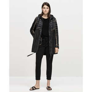 Luisa Cerano Quilted Panel Parka-Thinsulate Black/Tan
