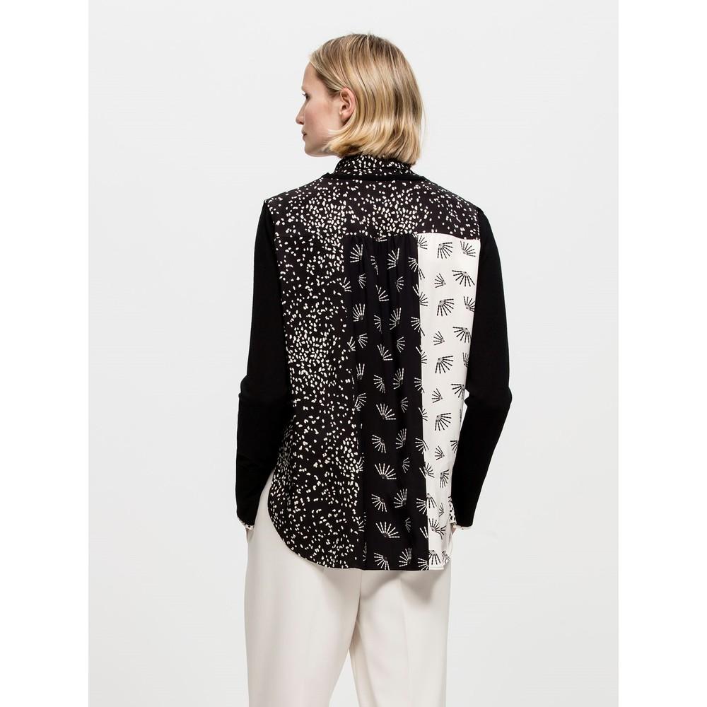 Luisa Cerano Contrast Back Knit-Collar Insert Black/White