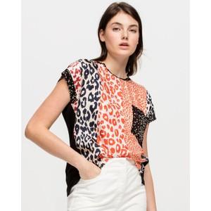 Striped Animal Print Front Top Orange/White/Black
