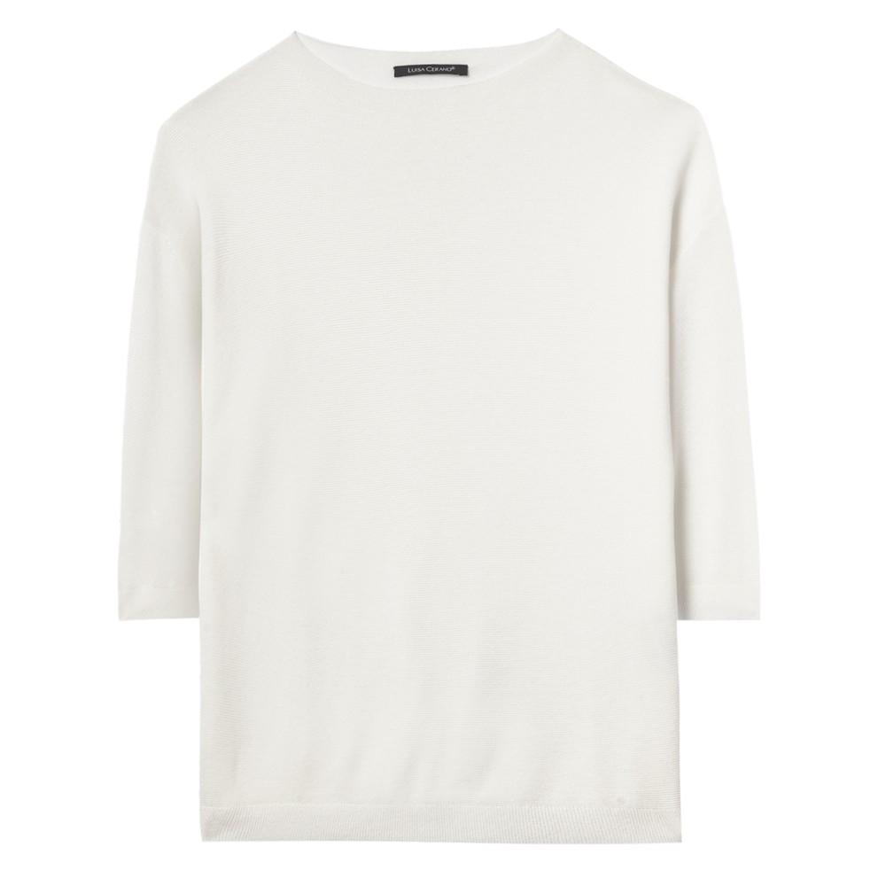 Luisa Cerano S/S Cotton Jumper Off White