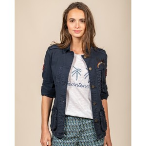 Five Multi Pockets Jacket with Badges Navy