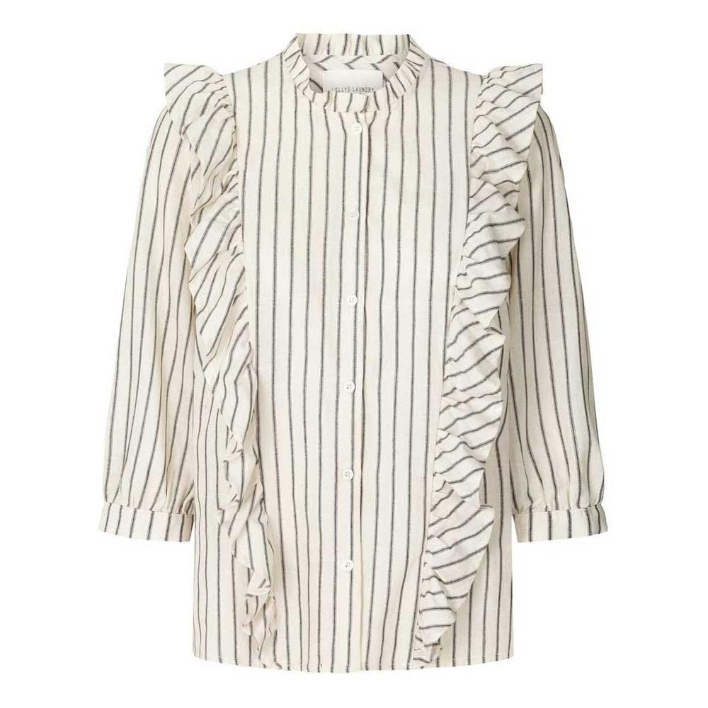 Lollys Laundry Hanni Ruffled Stripe Shirt Off White/Black