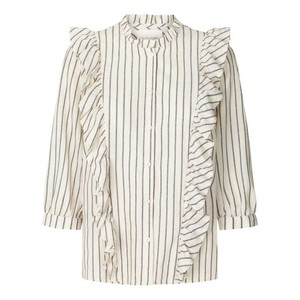 Hanni Ruffled Stripe Shirt Off White/Black