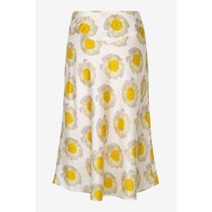 Senga A Line Print Silk Skirt Apricot Anemone