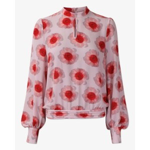 Madelyn Cuffed L/S Print Blouse PInk Anemone