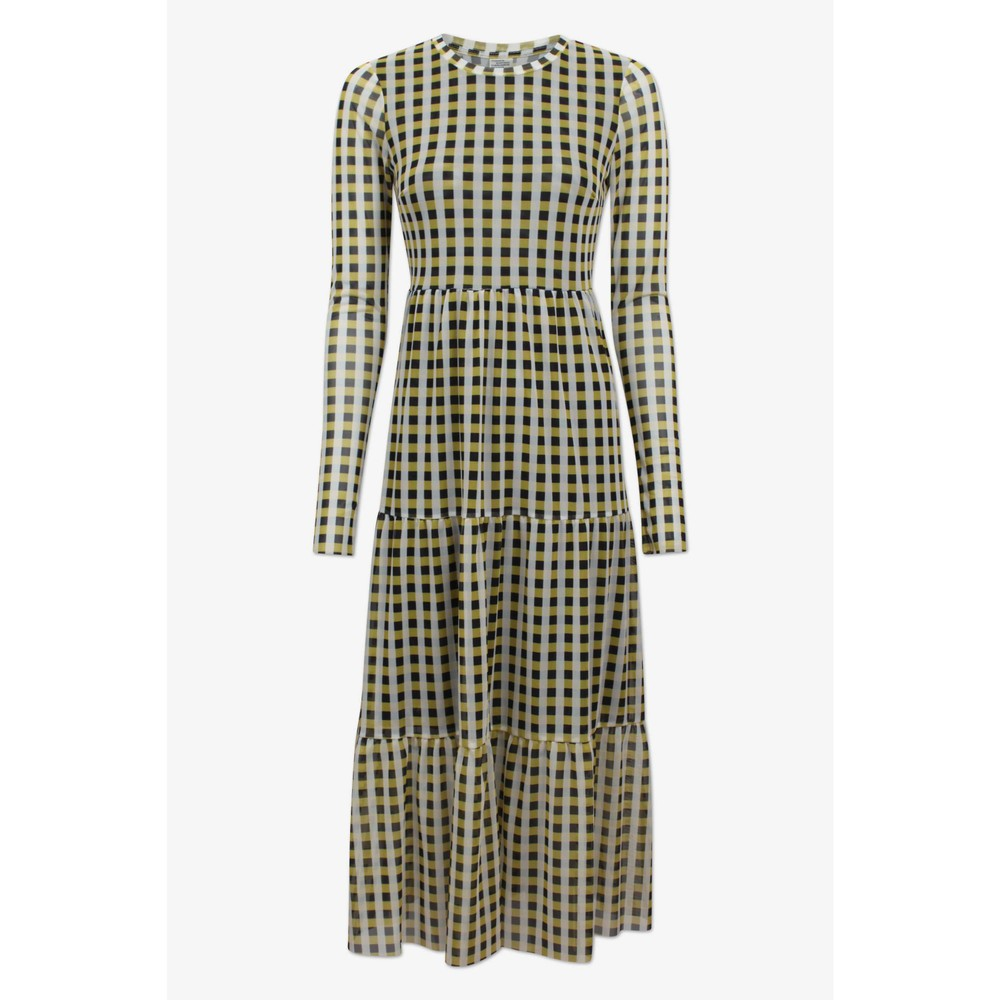 Baum Und Pferdgarten Jocelina L/S Printed Dress Yellow/Black Check