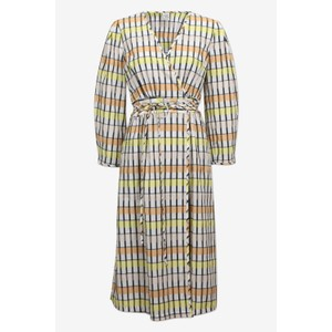 Baum Und Pferdgarten Abylene L/S Check Wrap Dress Peach/Yellow/Black