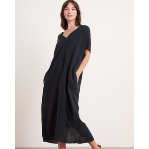 Yana Dble V/N S/S Long Dress Black