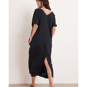 Velvet Yana Dble V/N S/S Long Dress Black