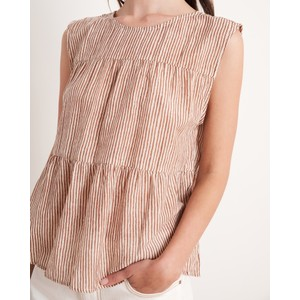Velvet Tatum S/L Stripe Top Tan/Natural