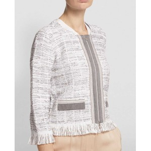 D Exterior Fringe Trim Full Zip Jacket White/Silver