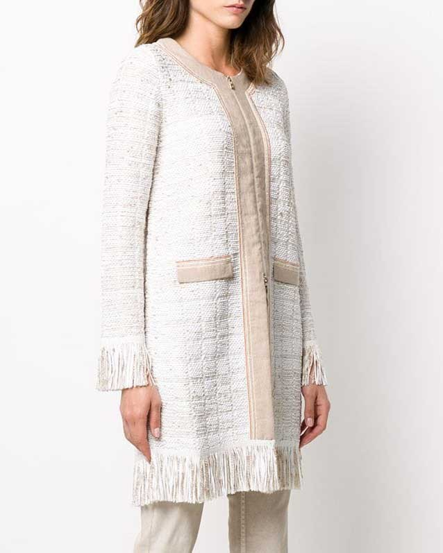 D Exterior Long Fringed Jacket Cream/Taupe