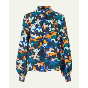 Eddy Hi Neck L/S Blouse Azalea Night