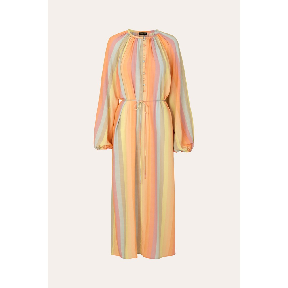 Stine Goya Elia L/S Half Button Dress Rainbow