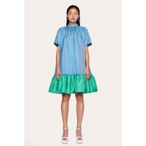 Wendy Hi Nk Ruffled Dress Green Blue Dots